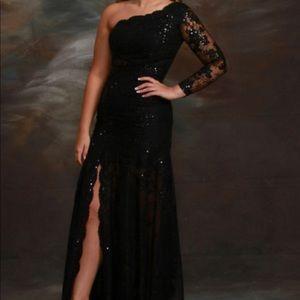 Tony Bowls One Shoulder Lace Sleeve Black Dress